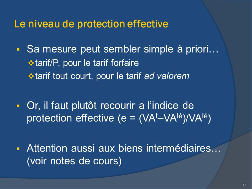Le niveau de protection effective
