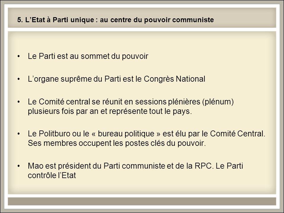 5. L'Etat à Parti unique : au centre du pouvoir communiste