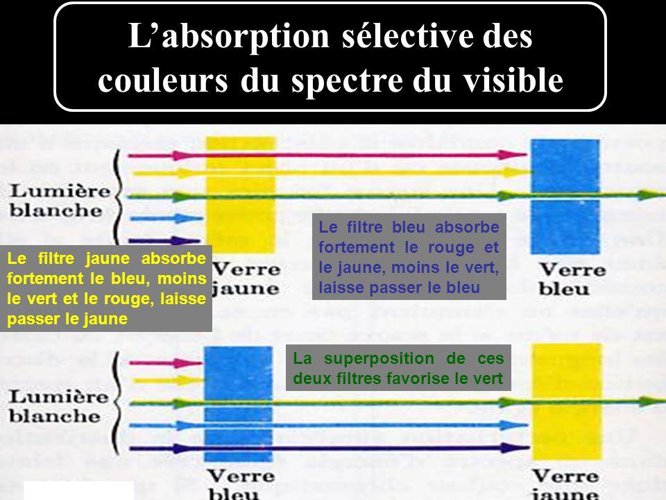 L'absorption sélective des couleurs du spectre du visible