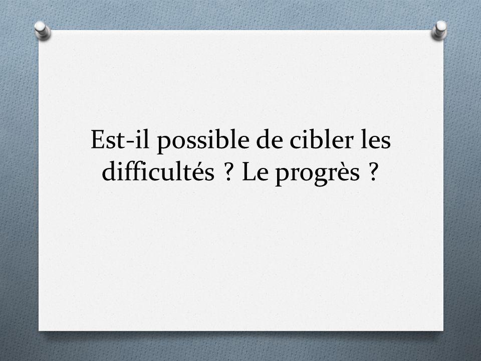 Est-il possible de cibler les difficultés Le progrès