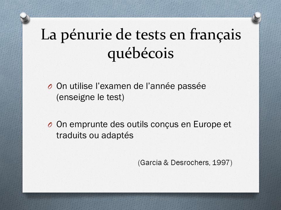 La pénurie de tests en français québécois