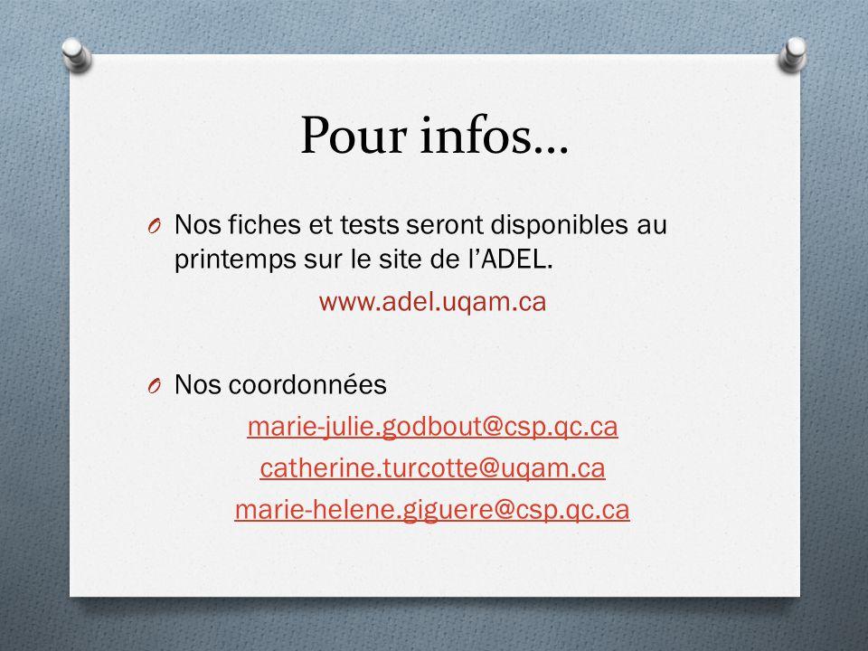 Pour infos… Nos fiches et tests seront disponibles au printemps sur le site de l'ADEL. www.adel.uqam.ca.