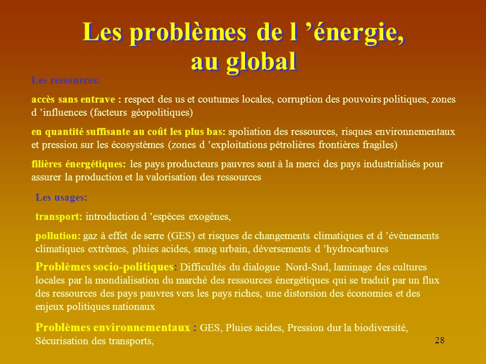 Les problèmes de l 'énergie, au global