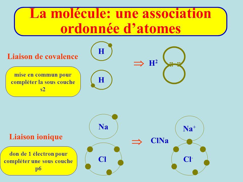La molécule: une association ordonnée d'atomes