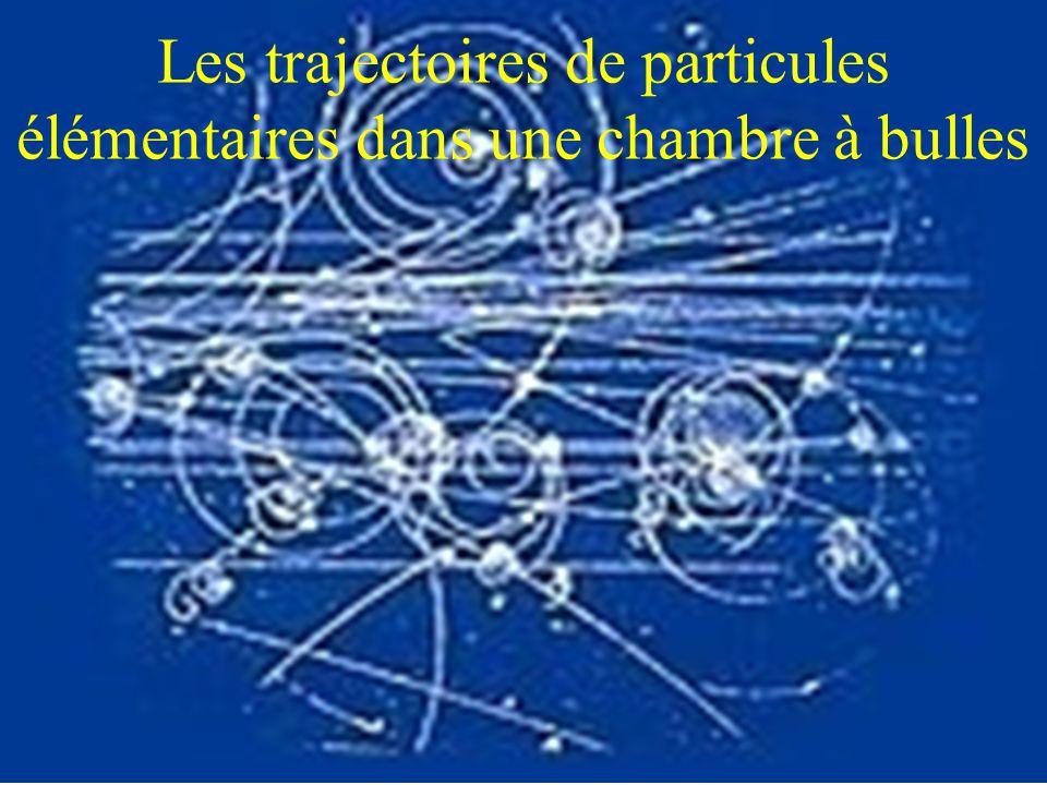Les trajectoires de particules élémentaires dans une chambre à bulles