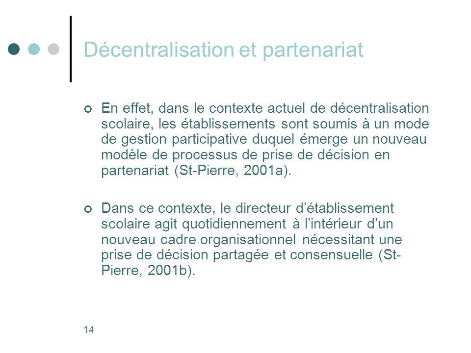 Décentralisation et partenariat