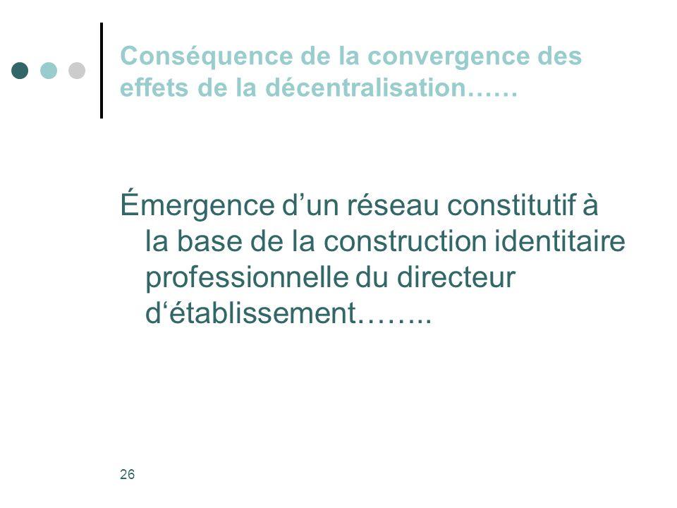 Conséquence de la convergence des effets de la décentralisation……
