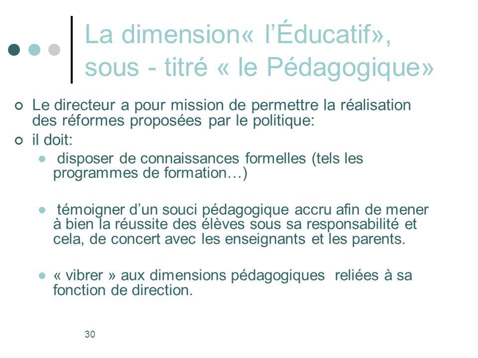 La dimension« l'Éducatif», sous - titré « le Pédagogique»