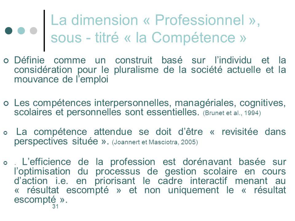 La dimension « Professionnel », sous - titré « la Compétence »