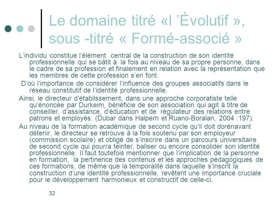 Le domaine titré «l 'Évolutif », sous -titré « Formé-associé »