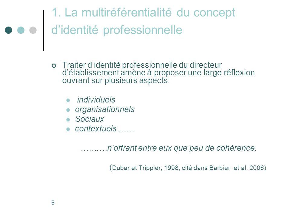 1. La multiréférentialité du concept d'identité professionnelle