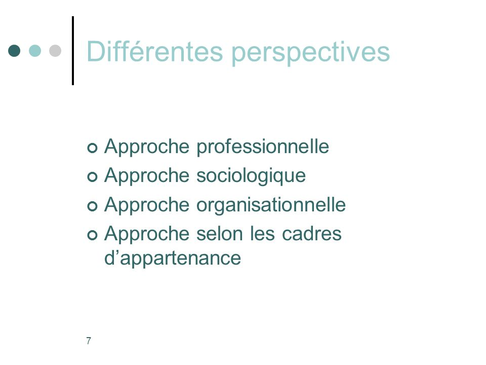 Différentes perspectives