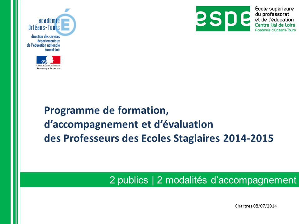 Programme de formation, d'accompagnement et d'évaluation des Professeurs des Ecoles Stagiaires 2014-2015
