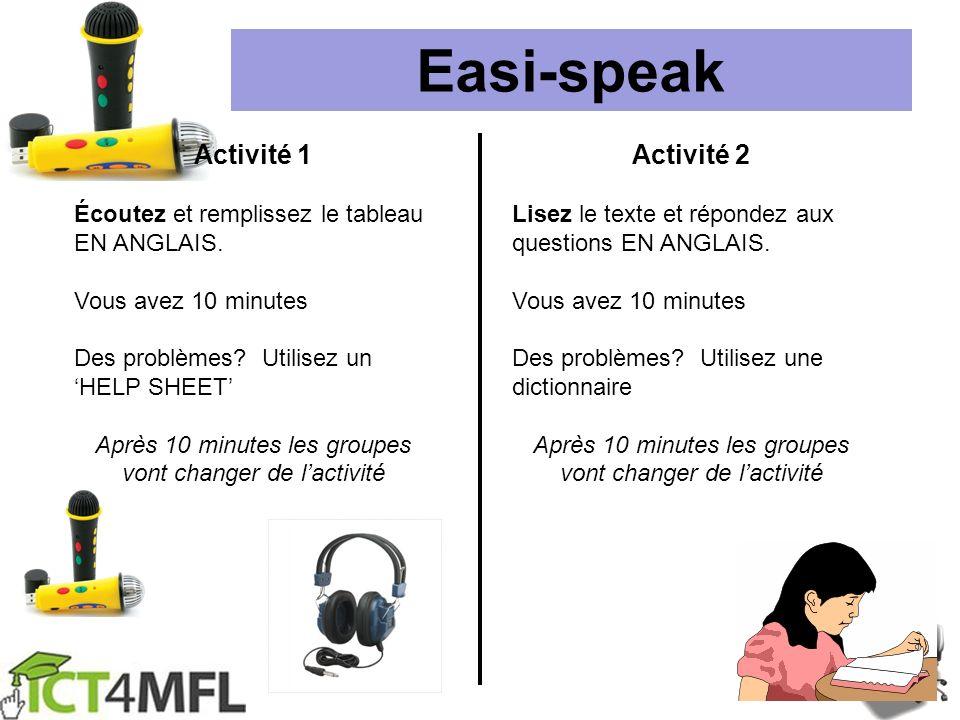 Easi-speak Activité 1 Activité 2