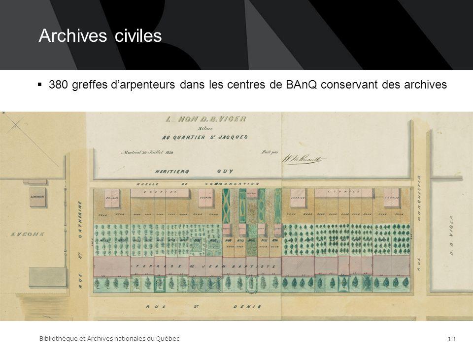 Archives civiles 14-06-17. 380 greffes d'arpenteurs dans les centres de BAnQ conservant des archives.