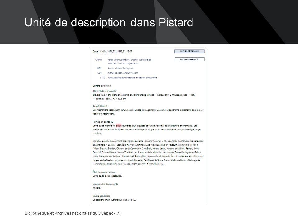 Unité de description dans Pistard