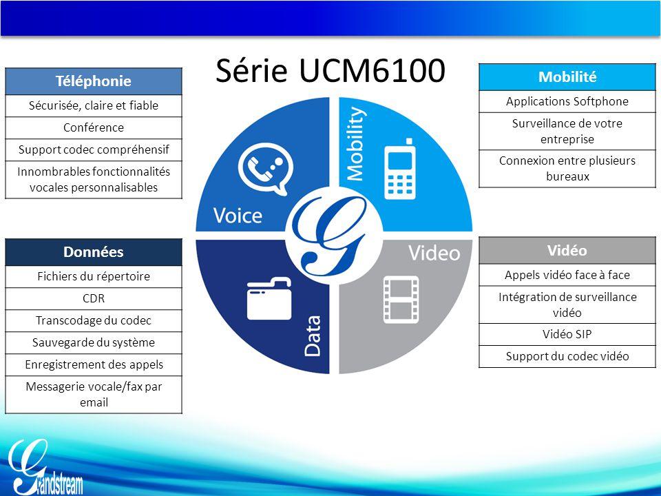 Série UCM6100 Mobilité Téléphonie Données Vidéo Applications Softphone