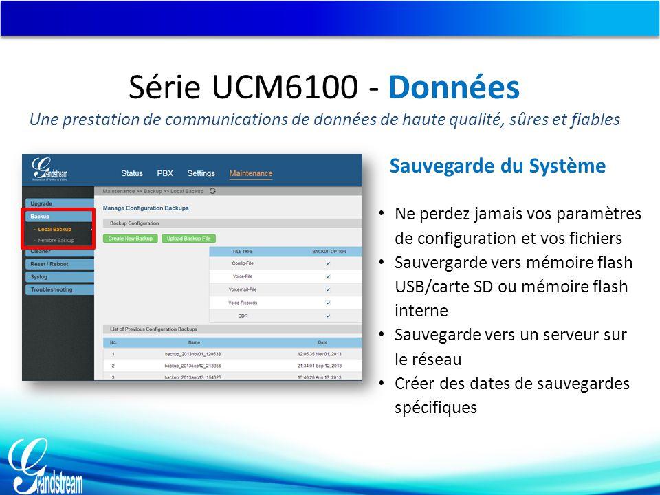 Série UCM6100 - Données Sauvegarde du Système