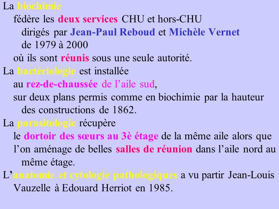 La biochimie fédère les deux services CHU et hors-CHU. dirigés par Jean-Paul Reboud et Michèle Vernet.