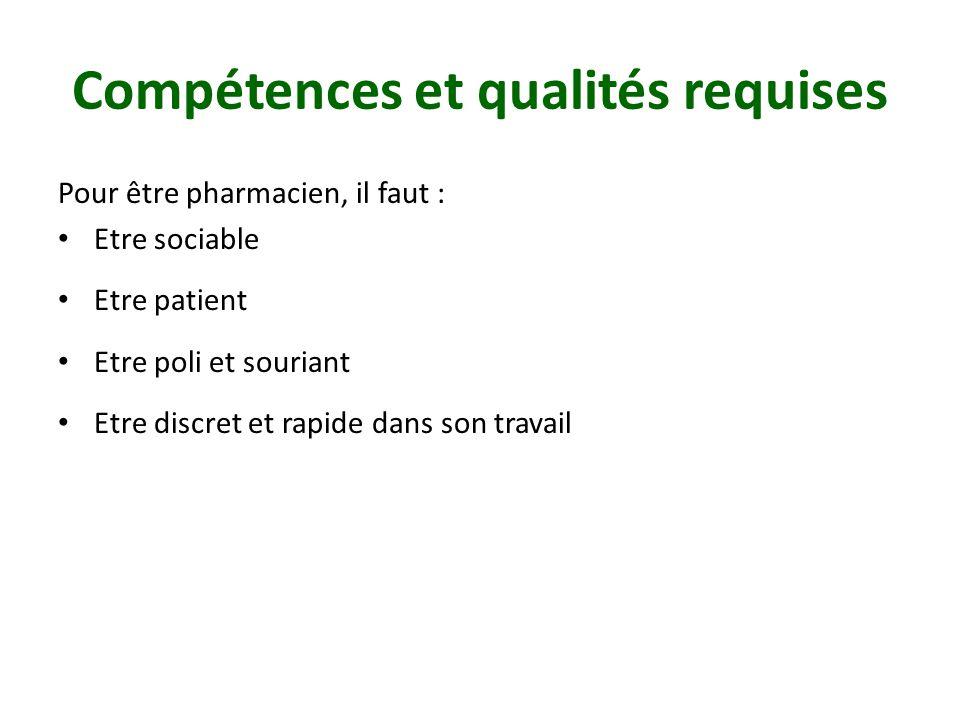 Compétences et qualités requises