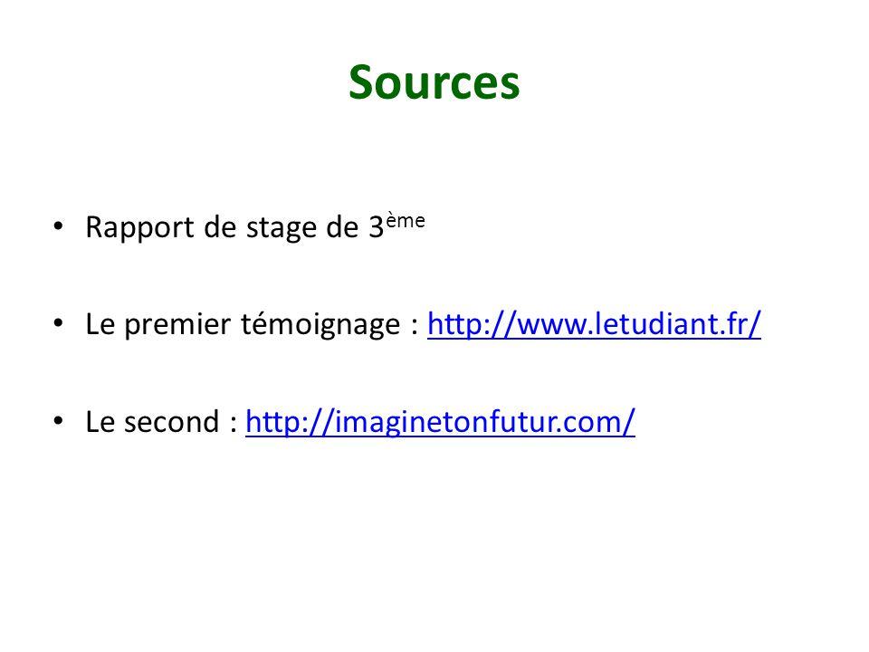Sources Rapport de stage de 3ème