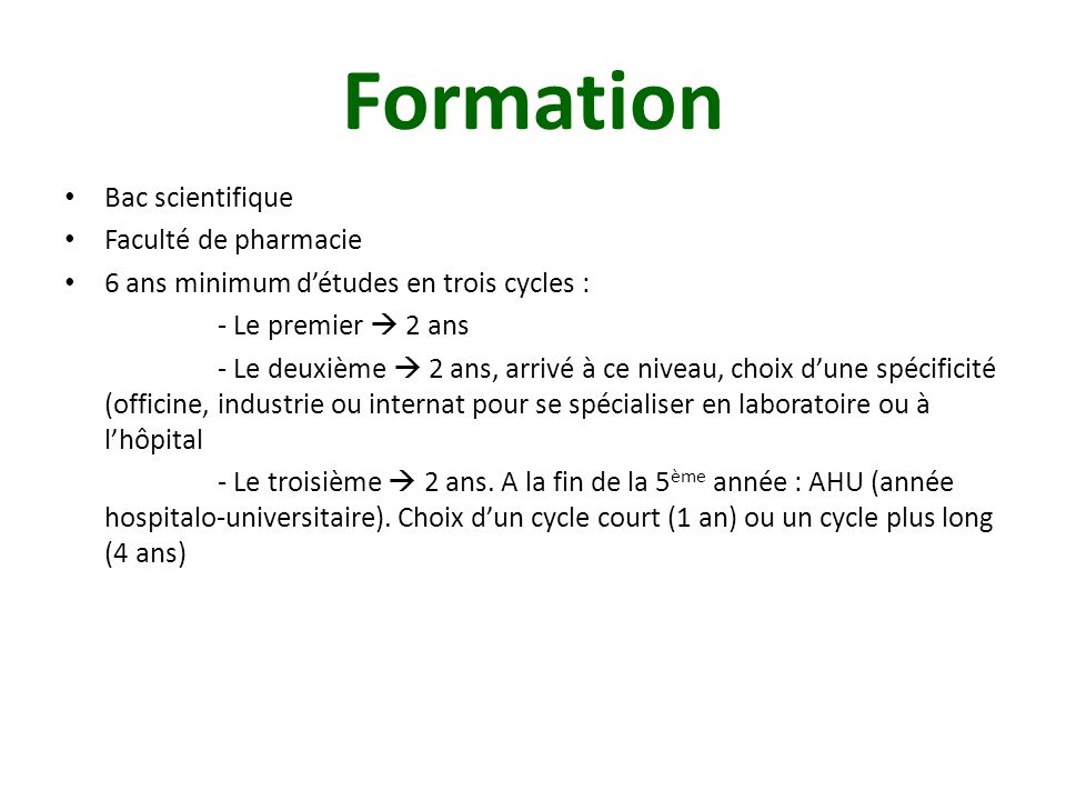 Formation Bac scientifique Faculté de pharmacie