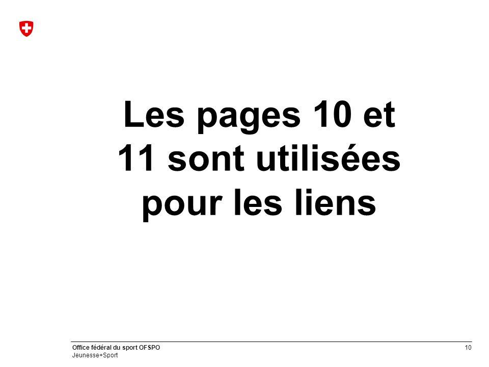 Les pages 10 et 11 sont utilisées pour les liens