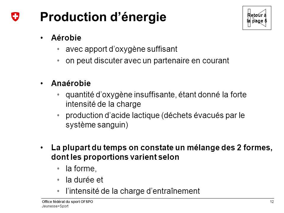 Production d'énergie Aérobie avec apport d'oxygène suffisant