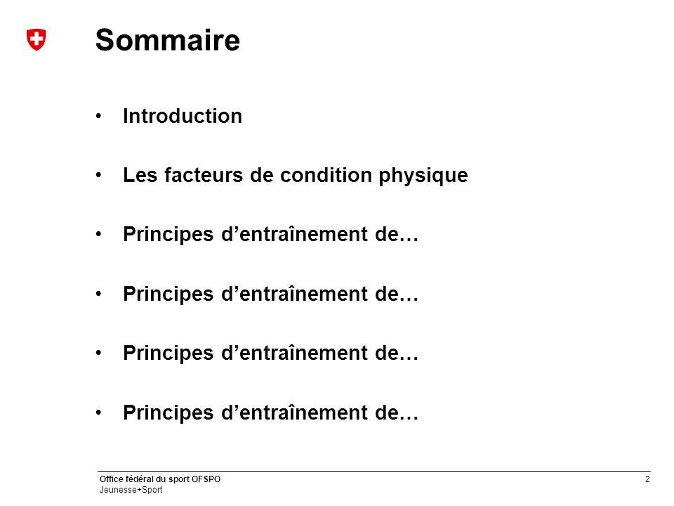 Sommaire Introduction Les facteurs de condition physique