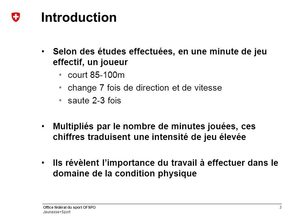 Introduction Selon des études effectuées, en une minute de jeu effectif, un joueur. court 85-100m.