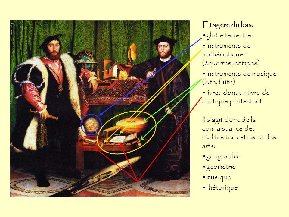 Étagère du bas: globe terrestre. instruments de mathématiques (équerres, compas) instruments de musique (luth, flûte)