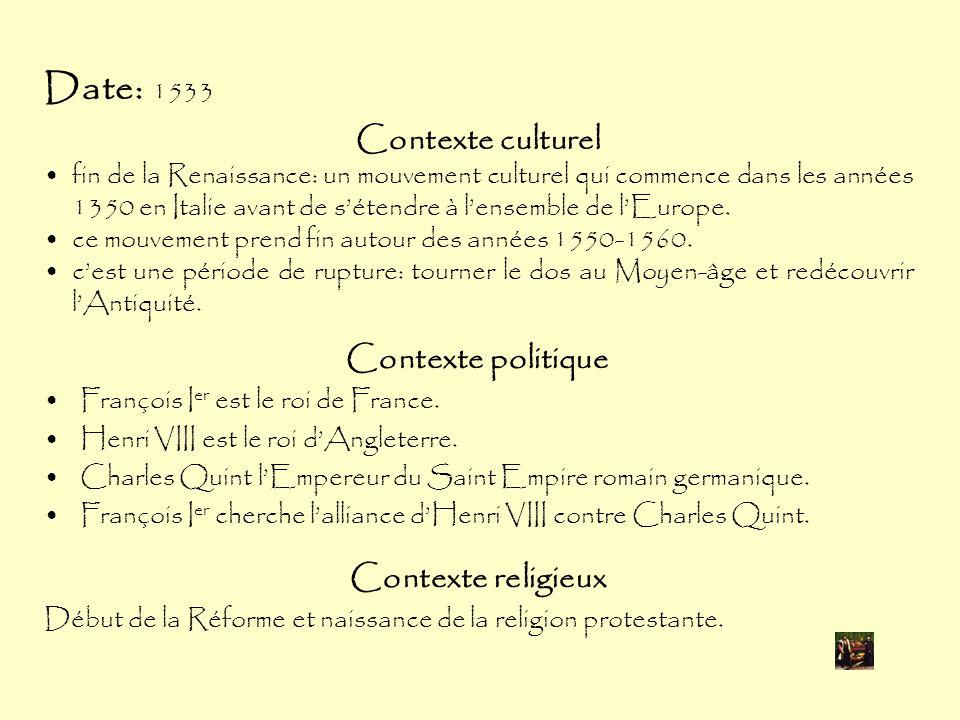 Date: 1533 Contexte culturel Contexte politique Contexte religieux