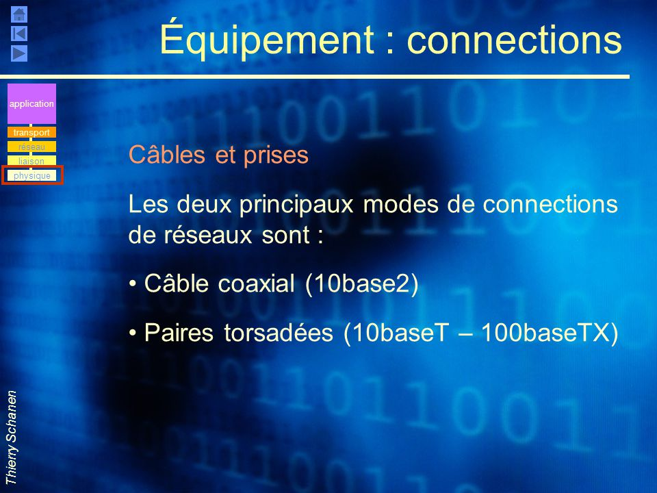 Équipement : connections
