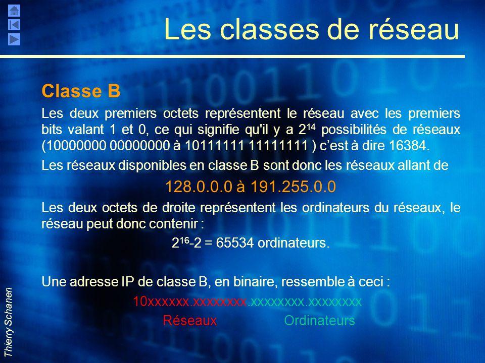 Les classes de réseau Classe B 128.0.0.0 à 191.255.0.0