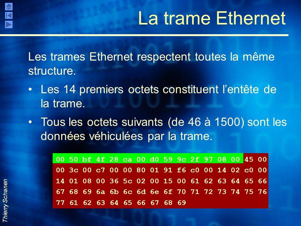 La trame Ethernet Les trames Ethernet respectent toutes la même structure. Les 14 premiers octets constituent l'entête de la trame.