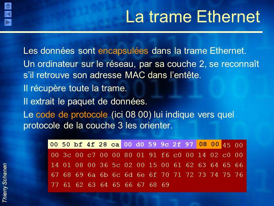 La trame Ethernet Les données sont encapsulées dans la trame Ethernet.