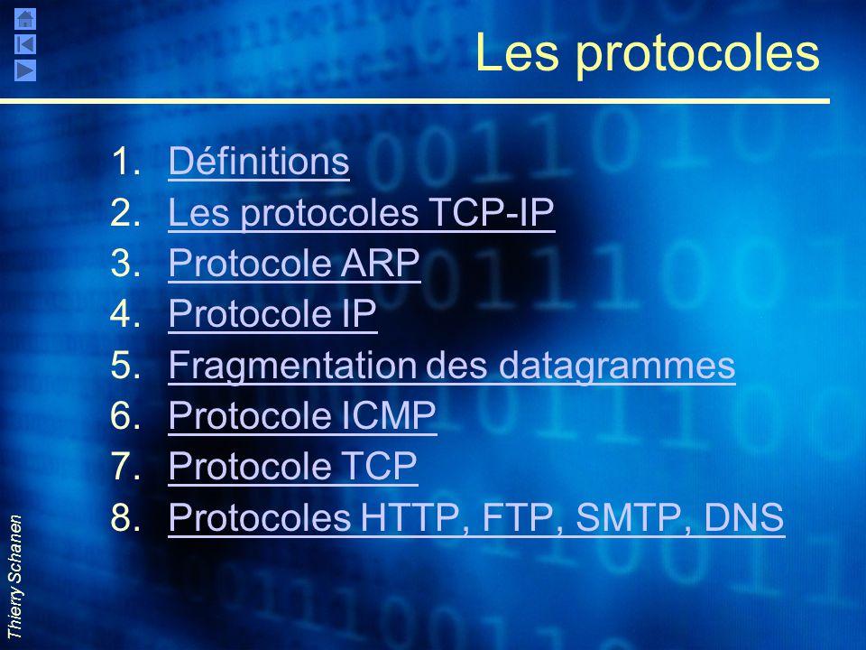 Les protocoles Définitions Les protocoles TCP-IP Protocole ARP