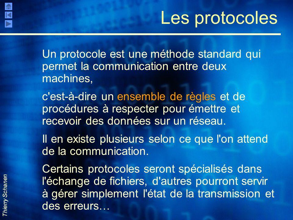 Les protocoles Un protocole est une méthode standard qui permet la communication entre deux machines,