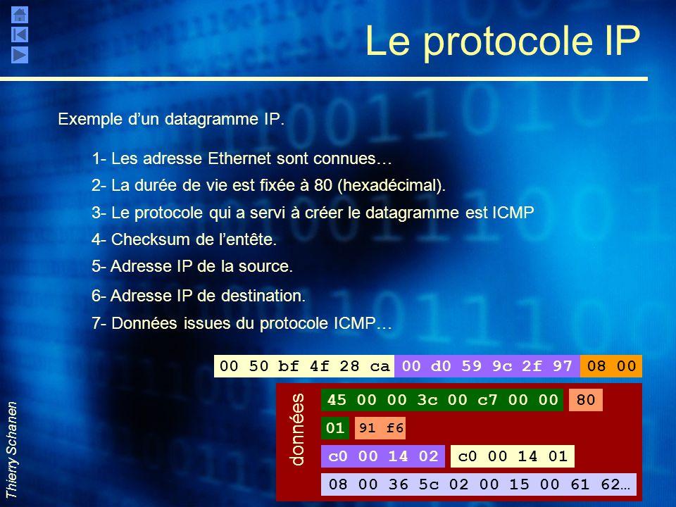 Le protocole IP données Exemple d'un datagramme IP.