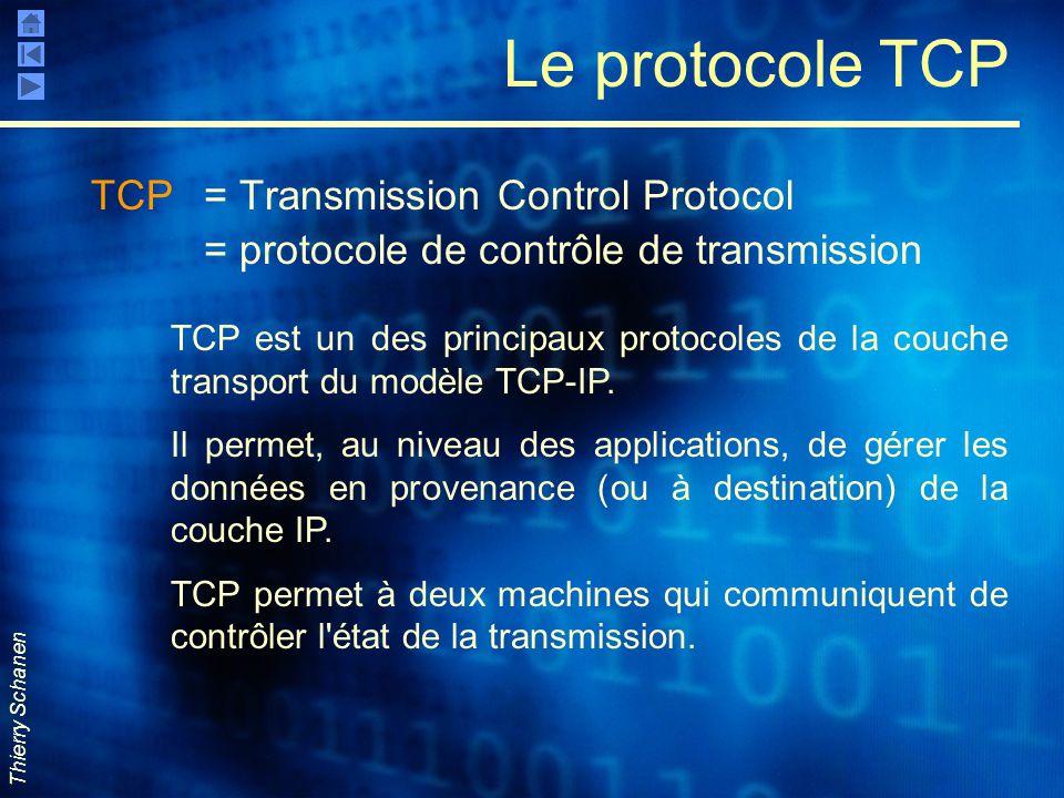 Le protocole TCP TCP = Transmission Control Protocol