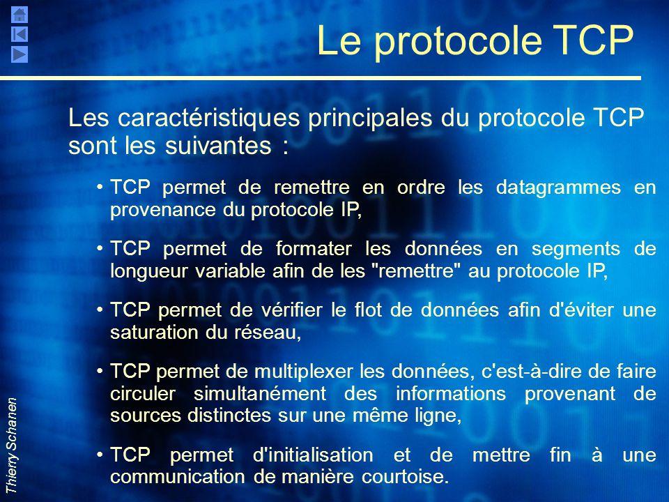 Le protocole TCP Les caractéristiques principales du protocole TCP sont les suivantes :