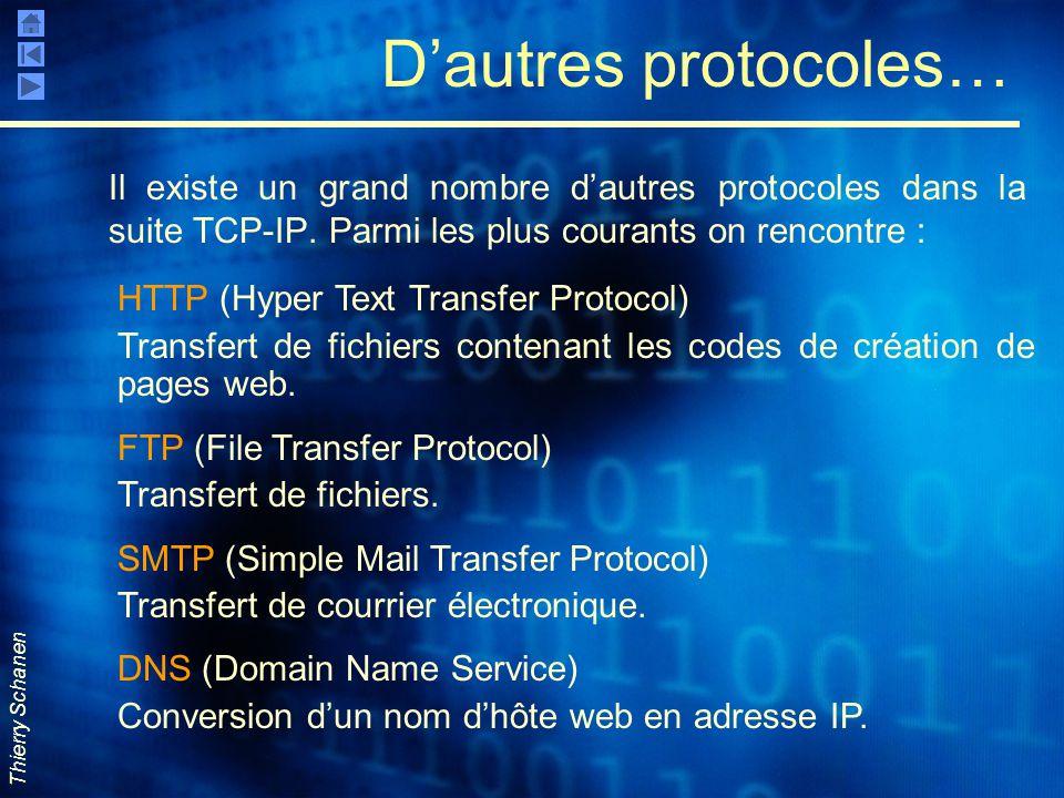 D'autres protocoles… Il existe un grand nombre d'autres protocoles dans la suite TCP-IP. Parmi les plus courants on rencontre :