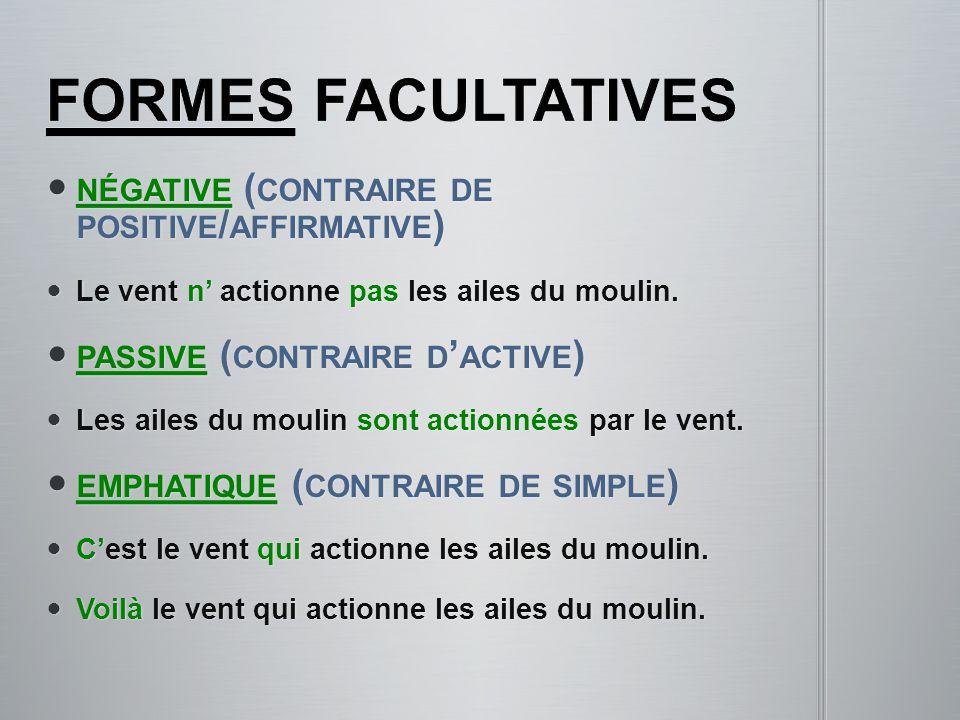 formes facultatives négative (contraire de positive/affirmative)