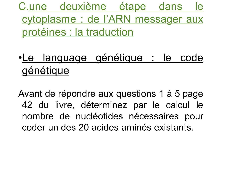 Le language génétique : le code génétique