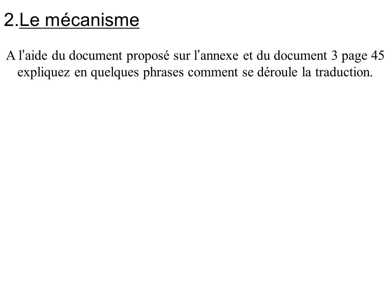 Le mécanisme A l'aide du document proposé sur l'annexe et du document 3 page 45 expliquez en quelques phrases comment se déroule la traduction.