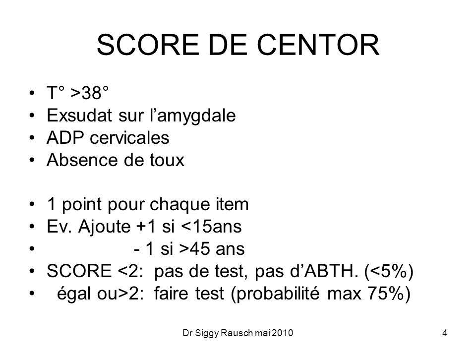 SCORE DE CENTOR T° >38° Exsudat sur l'amygdale ADP cervicales