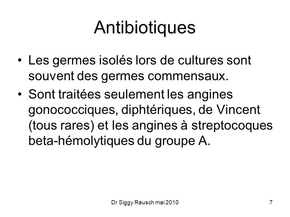 Antibiotiques Les germes isolés lors de cultures sont souvent des germes commensaux.