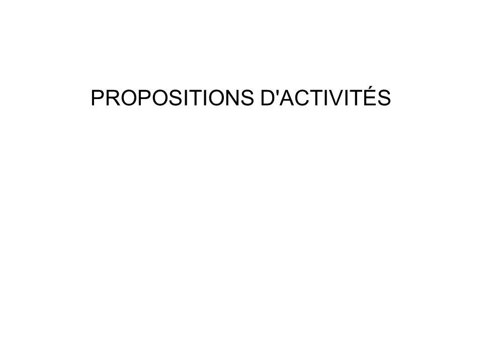 PROPOSITIONS D ACTIVITÉS