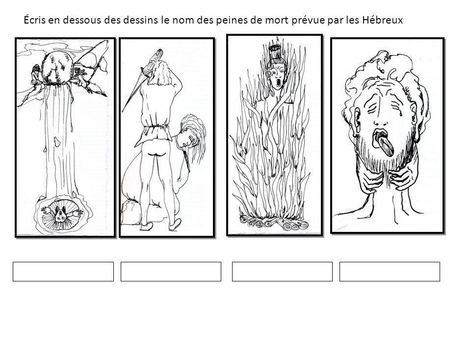 Écris en dessous des dessins le nom des peines de mort prévue par les Hébreux