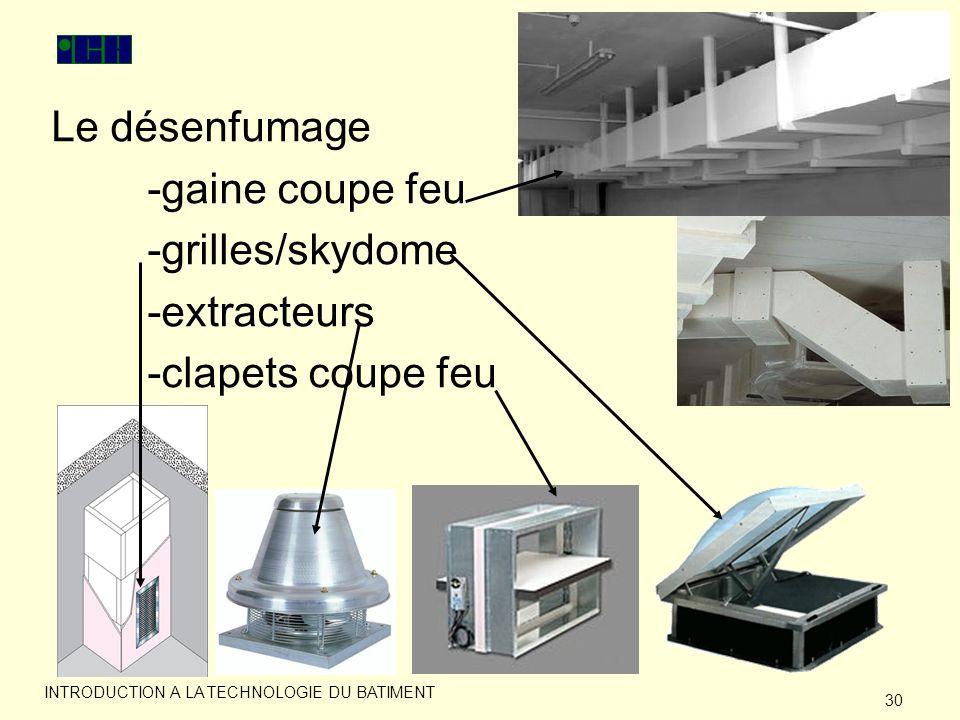 Le désenfumage -gaine coupe feu -grilles/skydome -extracteurs